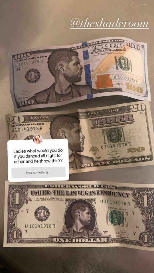 Usher's fake bucks revealed on instagram by stripper