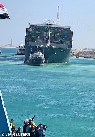 The Ever Given was back on its way in the Suez Canal today