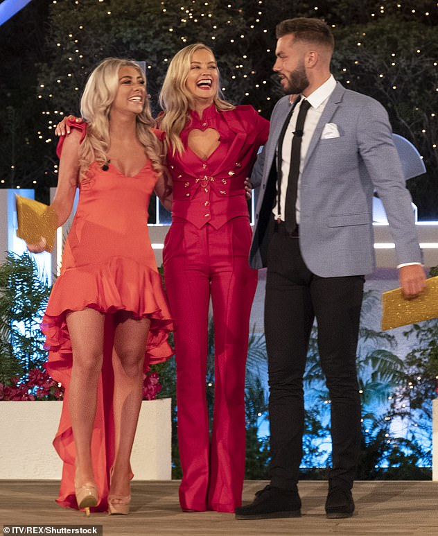 Delayed:The launch date of Love Island 2021 has been delayed by three weeks due to overseas travel restrictions as ITV confirm they plan to base the show in Majorca (Love Island winter 2020 winners Paige Turley and Finn Tapp pictured with host Laura)