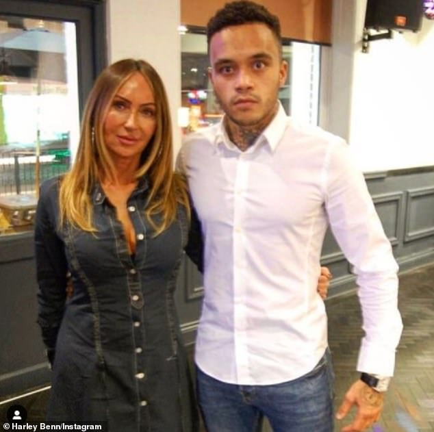 Candid:Harley has previously admitted he has an 'inconsistent relationship' with father Nigel after he left his mother Lisa Andrews (pictured together in January) before he was born and took a paternity test at the outset