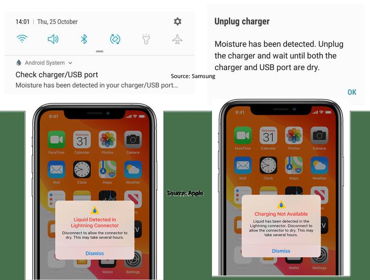 New generation Samsung and Apple phones have a moisture/liquid alert notification. Samsung/Apple