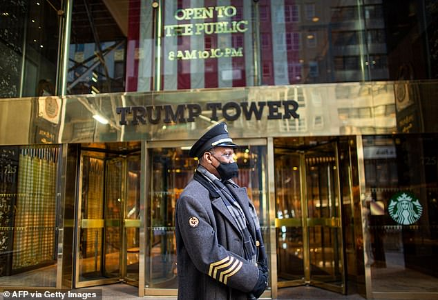 Staying put: The couple was seen last week arriving at Trump Tower in Midtown Manhattan (seen above last month)