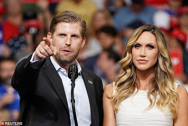 Going solo: Eric and Lara Trump (pictured above in June 2019) remain the lone family members to currently be based in the former president's hometown of New York City