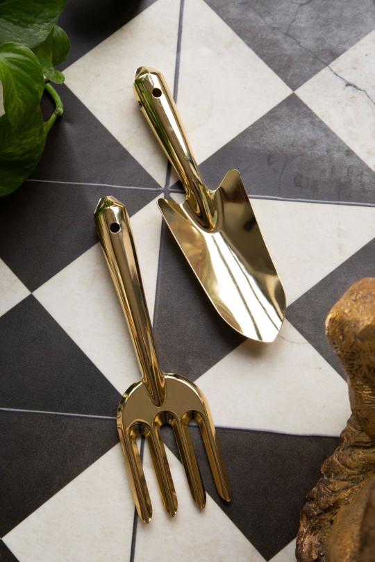 Gold coloured trowel & fork gift set