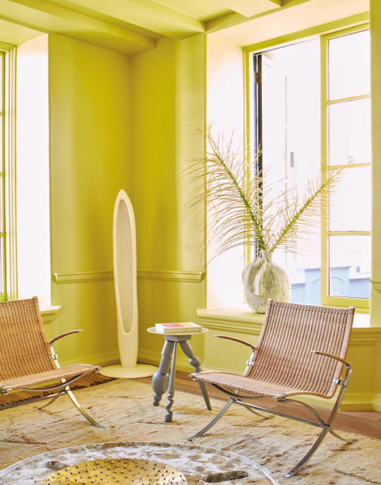 Farrow & Ball California Collection: Citrona - room and window frames painted bright lemon yellow