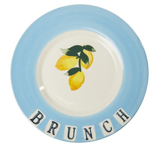 Fiori ceramics - blue 'Brunch@ plate with lemon decal