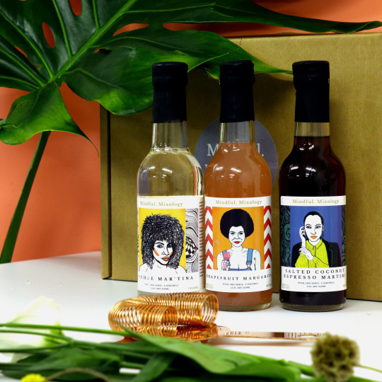 Mindful mixology . three cocktails - Lychee Mar'Tina, Grapefruit Margarita, Salted Coconut Espresso Martini