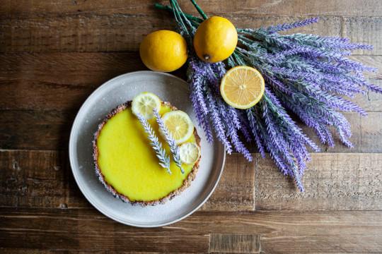 Tarte au Citron with lavednar and lemon decoration