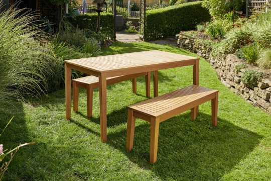 Eucalyptus dining table and two benches, ?349, wilko.com