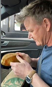 Gordon Ramsay inspecting a toastie
