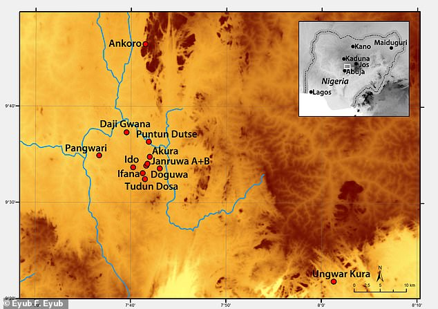 Pictured, a map showing the distribution of Nok archaeological sites sampled in this study