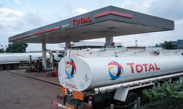Oil tankers at a Total petrol station in the Ugandan capital, Kampala.
