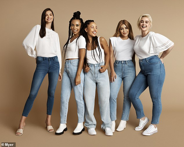 Be confident: 'You are now the most confident, cutest, stylish version of yourself that can take on anything,' she said. Pictured, Martha and models on the set of Myer's new campaign