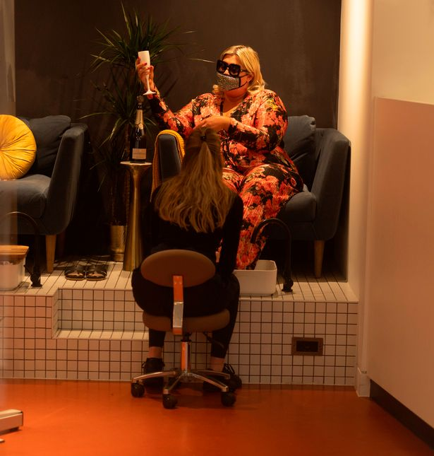 Gemma had a drink at the salon