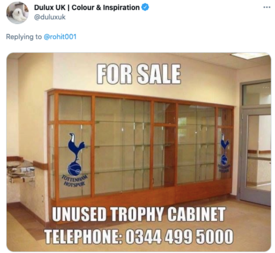 Dulux also mocked Tottenham for their lack of trophies