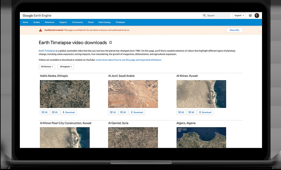 Google Earth has released more than 800 videos from Timelapse data for the public to view without needing to search for them on Google Earth, which will be published on YouTube (pictured)
