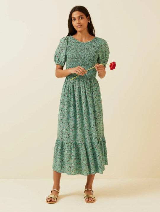 M&S and Ghost shirred dress