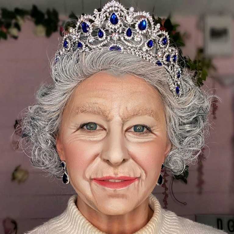 Liss Lacao paints her face as Queen Elizabeth II