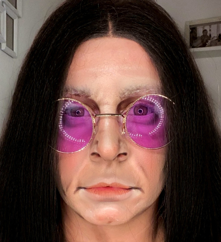 Liss Lacao paints her face as Ozzy Osbourne