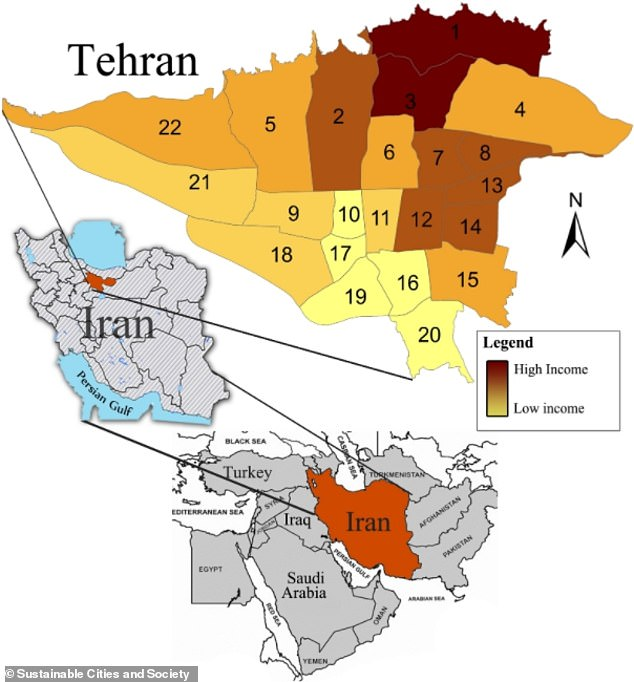 The geographic location of Tehran and Iran and income levels in the 22 municipal districts of Tehran. Images prepared by authors from Statistical Centre of Iran (2016) and Google Satellite images