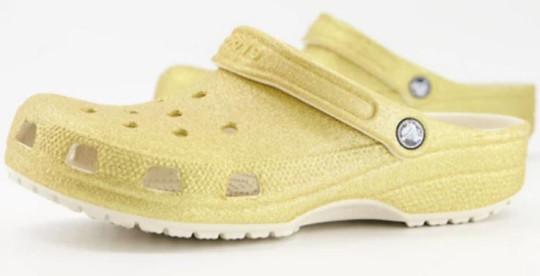 glittery gold crocs