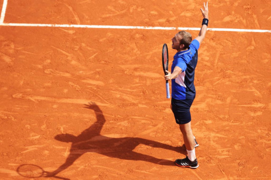 Dan Evans of Great Britain celebrates a point in the quarter final match between David Goffin of Belgium and Dan Evans of Great Britain during day six of the Rolex Monte-Carlo Masters at Monte-Carlo Country Club on April 16, 2021 in Monte-Carlo, Monaco.