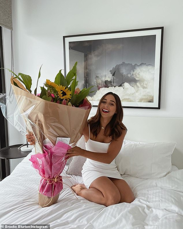 Romantic: Brooke and Drink Too Much hitmaker G Flip also exchanged flowers for Valentine's Day