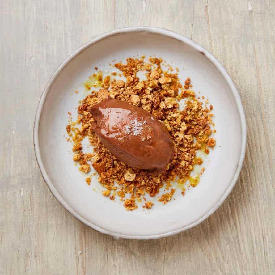 Nicola Lamb's dark chocolate and olive oil cheesecake cream.