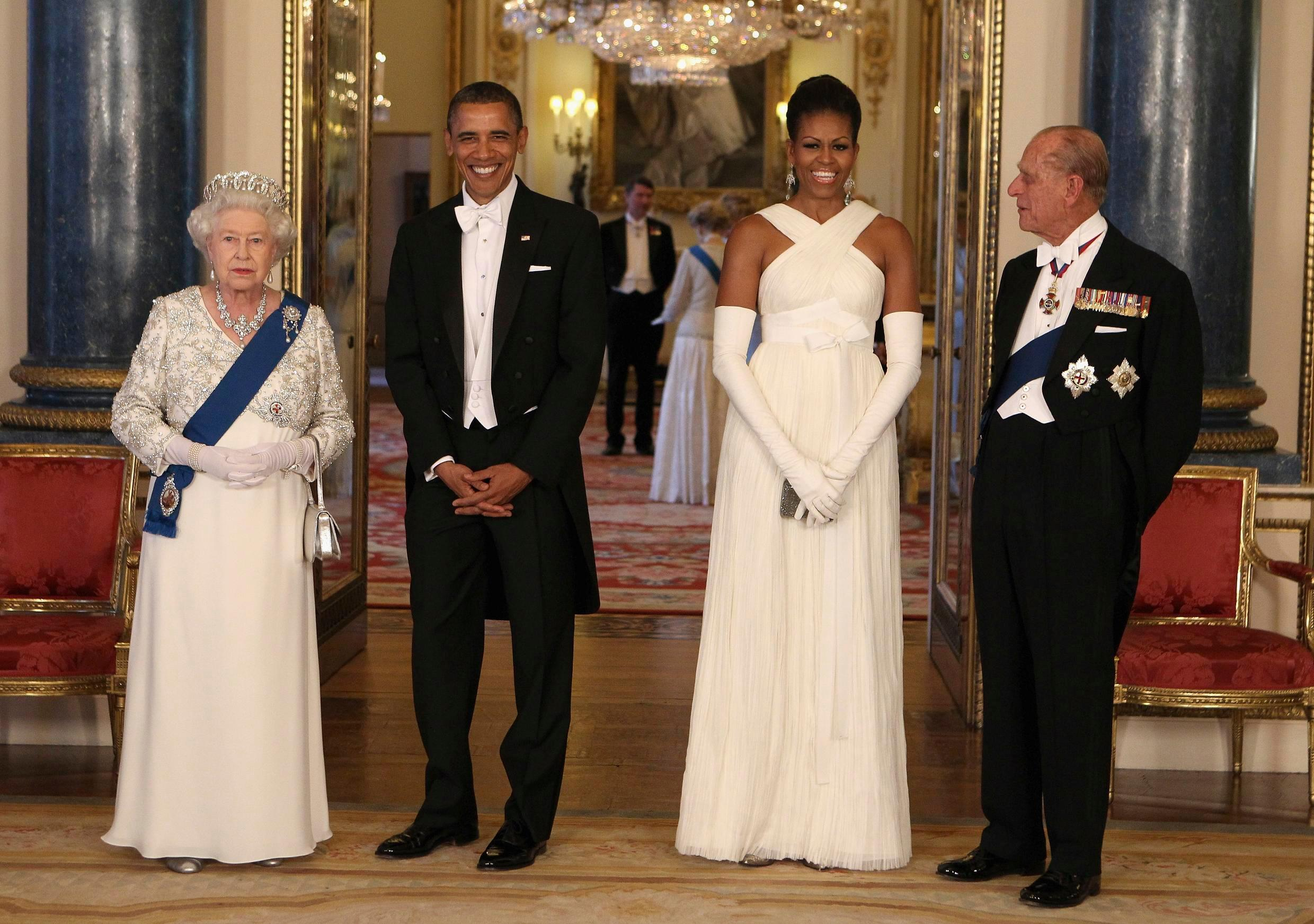 This May 24, 2011 file photo shows Her Majesty The Queen, then US President Barack Obama, then First Lady Michelle Obama and Prince Philip ahead of a state banquet in Buckingham Palace, London.