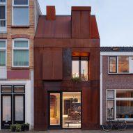 Corten-steel clad facade of Utrecht house