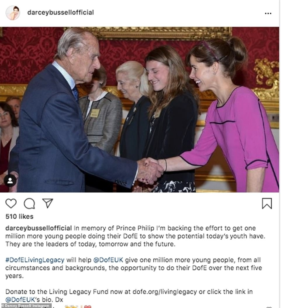 Touching: Darcey Bussell took to Instagram to tell her followers she was backing the effort to get one million more young people their DofE, in memory of Prince Philip