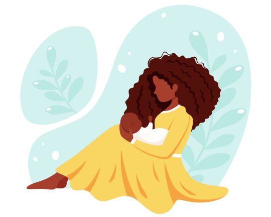 Black woman sitting with baby. Motherhood, parenting concept. Mother's Day. Vector illustration.