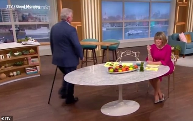 Struggles: On Monday's show during the Easter break, the presenter used a walking stick to enter the studio as his wife Ruth admitted it 'takes him so long walking'