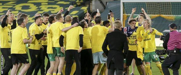 Norwich players celebrate