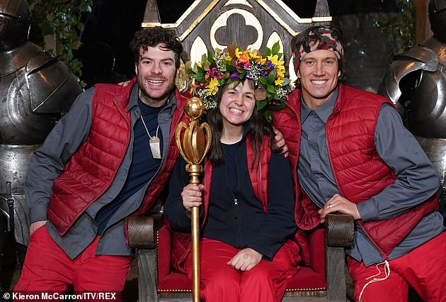 Finalists: She was crowned the winner after the show was forced to move to Gwrych Castle in Wales last year rather than Australia due to the pandemic (pictured with Jordan and Vernon)