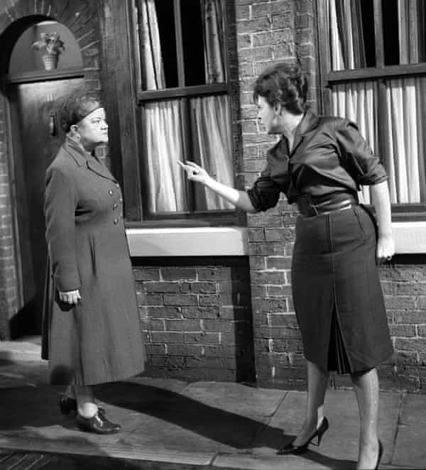 Violet Carson (Ena Sharples) and Pat Phoenix (Elsie Tanner) on Coronation Street in the early 1960s.