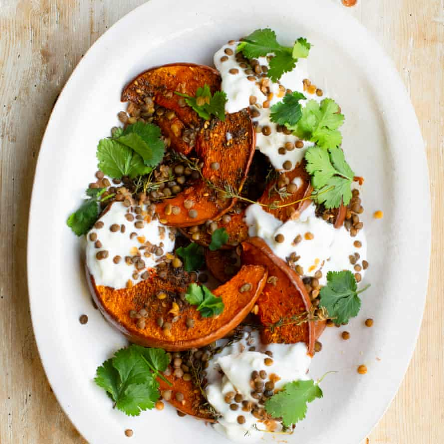 Baked pumpkin, burrata and lentils