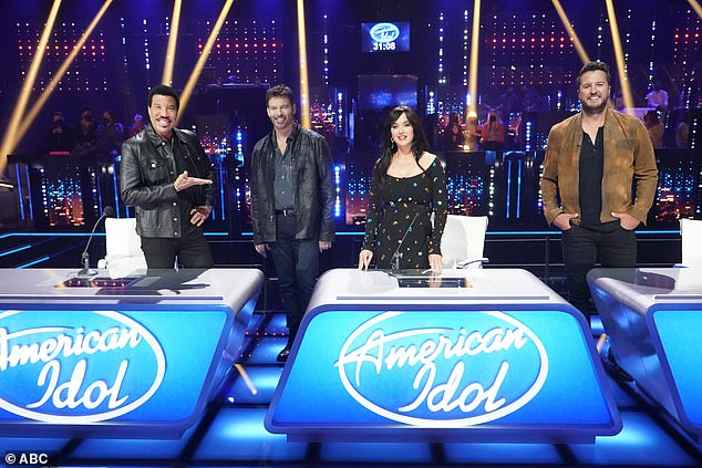 Panel: Katie was joined by Lionel Richie, Harry Connick Jr and Luke Bryan