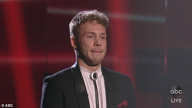Emotional episode:Hunter made it through, and wept again as he left the stage at show's end