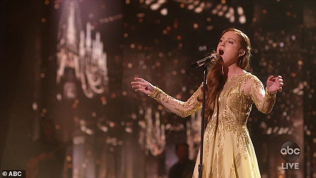 Powerful voice:Cassandra Coleman, 24, from Columbia, Tennessee, sang a powerful version of Sam Smith's Writing's On The Wall from the 2015 James Bond film Spectre