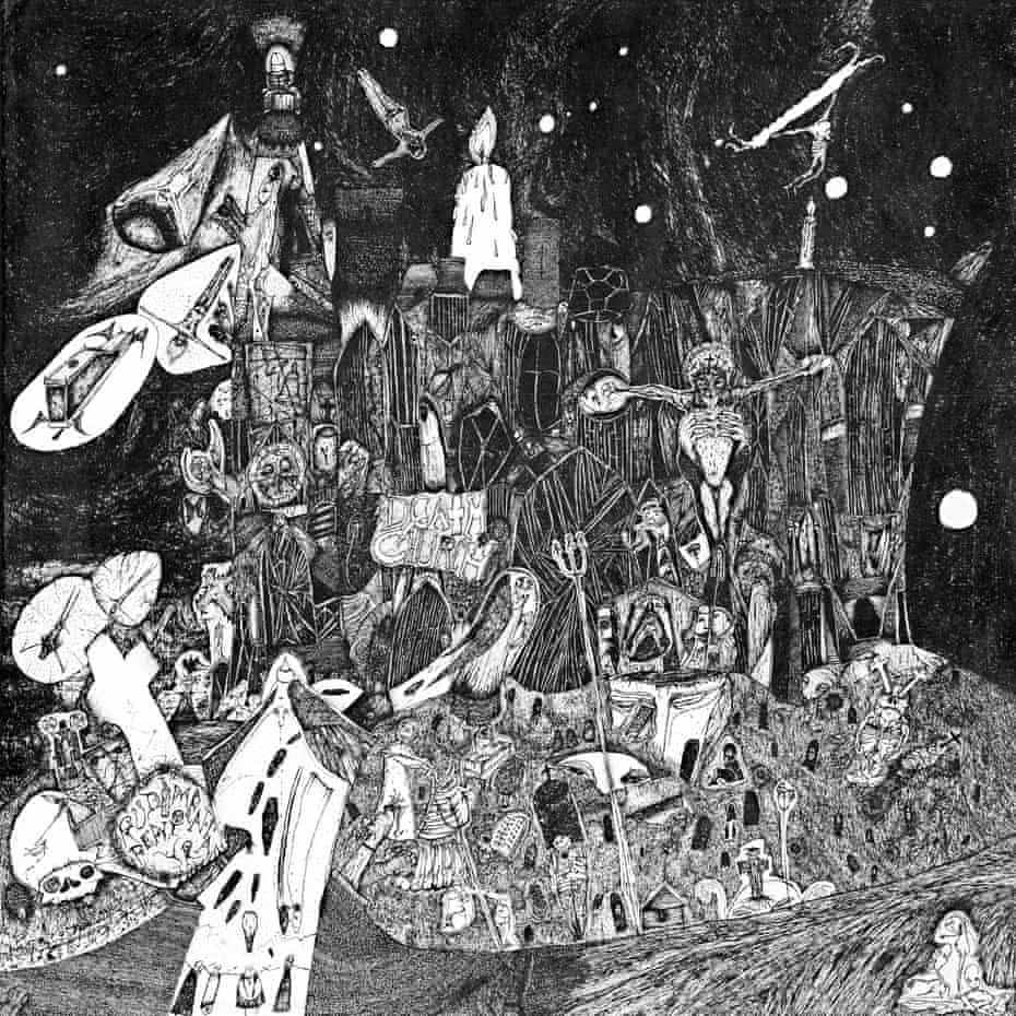 The album cover of Death Church, created by Nick Blinko.