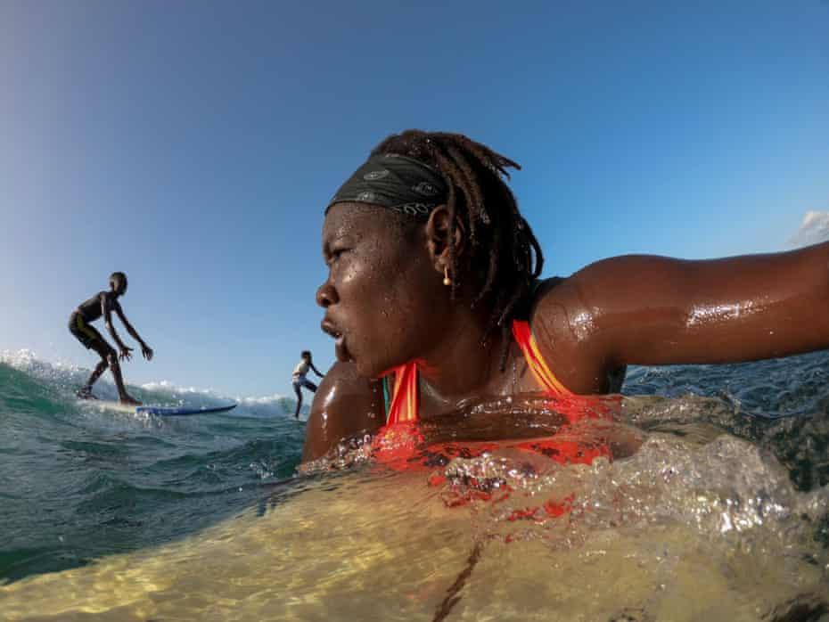 Swell … Khadjou Sambe, Senegal's first female professional surfer.