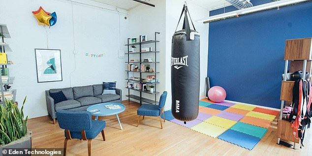 Inside the office: BetterUp's San Francisco offices include numerous sofas, exercise equipment and a punhing bag