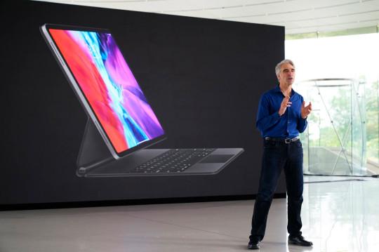 Apple's Craig Federighi speaking during a keynote address