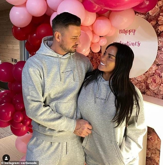 Proposal: The television personality, 42, and Carl, 32, are said to have accepted a five-figure magazine deal to reveal their happy news (pictured in February)