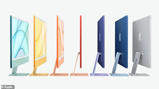 The iMac is available in seven different vibrant colors and includes a 1080p FaceTime HD camera, studio-quality mics, and a six-speaker sound system