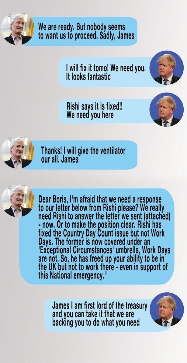 Boris Johnson's texts with James Dyson. Source: BBC