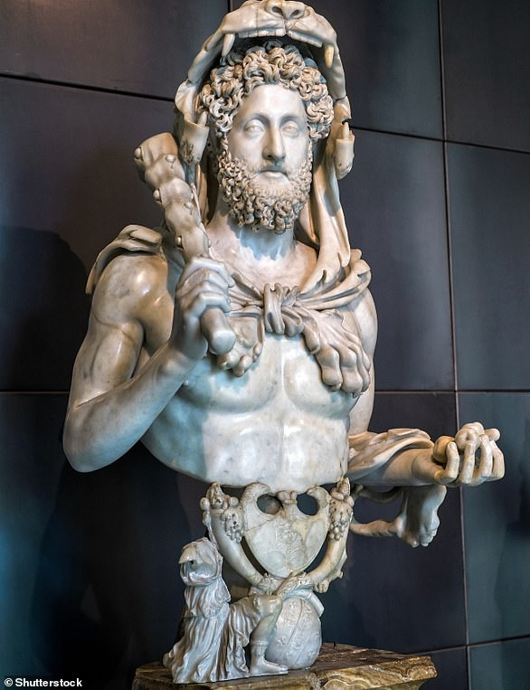 Statue of the ancient Roman emperor Commodus as Hercules in the Capitoline Museum, Italy. The ruler of the empire was more interested in his blonde curls than doing a good job of ruling the empire