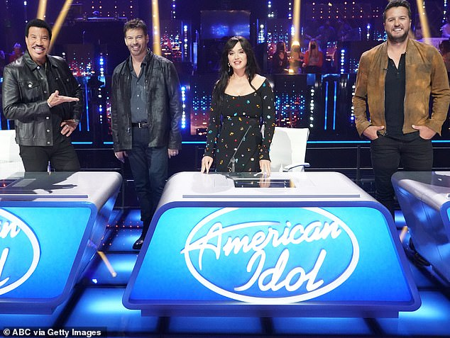 What a team:She sits on the panel alongside Lionel Richie (left) and Luke Bryan (right) with Harry Connick Jr. (second from left) returning for this week's Comeback Episode