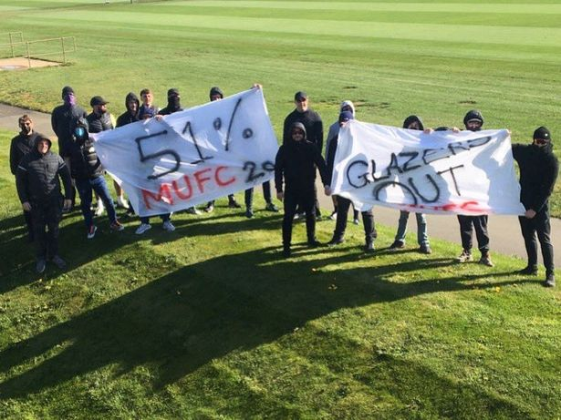 United's supporters protest at Carrington.